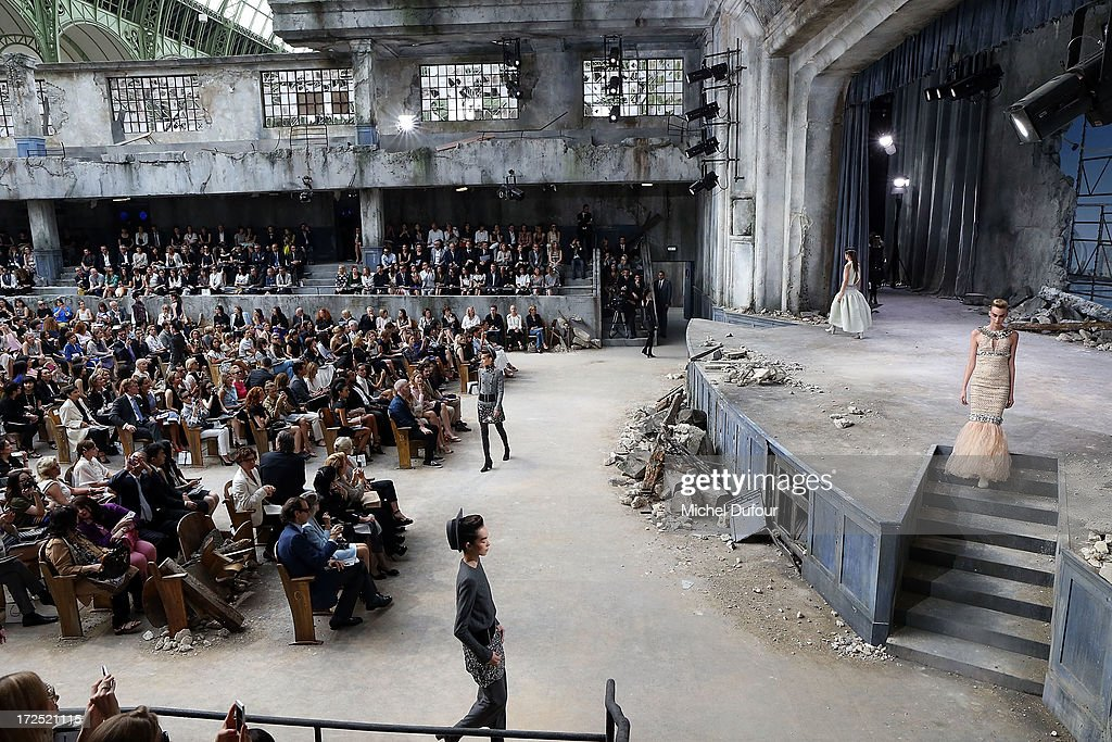 Models walk the runway for Final during Chanel show as part of Paris Fashion Week Haute-Couture Fall/Winter 2013-2014 at Grand Palais on July 2, 2013 in Paris, France.