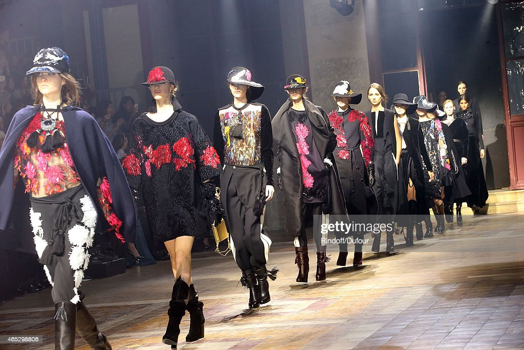 Models walk the runway for Final during the Lanvin show as part of the Paris Fashion Week Womenswear Fall/Winter 2015/2016 on March 5 2015 in Paris...
