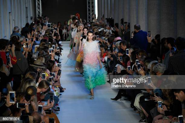 Models walk the runway for Finale at the Vivetta show during Milan Fashion Week Spring/Summer 2018 on September 21 2017 in Milan Italy