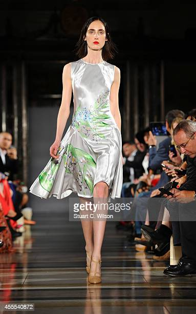 Models walk the runway for Isabel Garcia SS15 Show during London Fashion Week at Freemasons Hall on September 16 2014 in London England