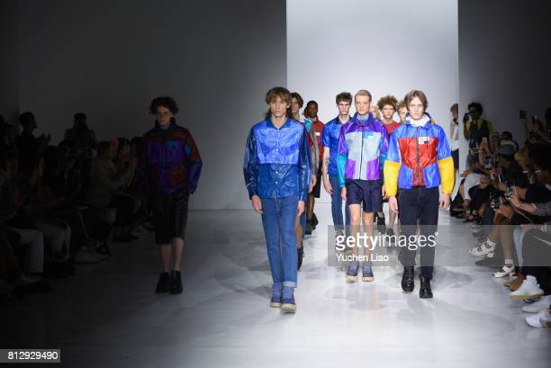Models walk the runway for Patrik Ervell NYFW Spring Summer 2018 Mens show at Skylight Clarkson Sq on July 11 2017 in New York City