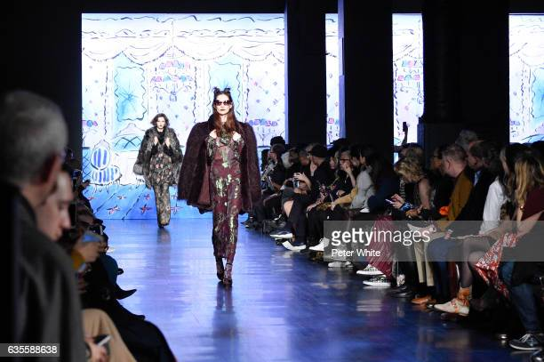 Models walk the runway for the Anna Sui collection during New York Fashion Week The Shows at Gallery 1 Skylight Clarkson Sq on February 15 2017 in...