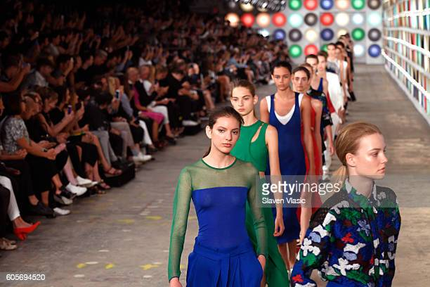 Models walk the runway for the Boss Womenswear fashion show during New York Fashion Week September 2016 at The Gallery Skylight at Clarkson Sq on...