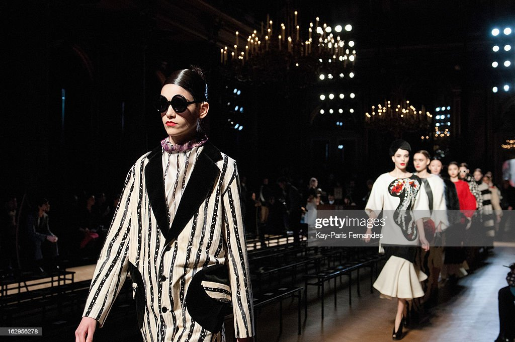 Models walk the runway for the dress rehearsal of the Tsumori Chisato Fall/Winter 2013 Ready-to-Wear show as part of Paris Fashion Week at The Hotel Westin on March 2, 2013 in Paris, France.