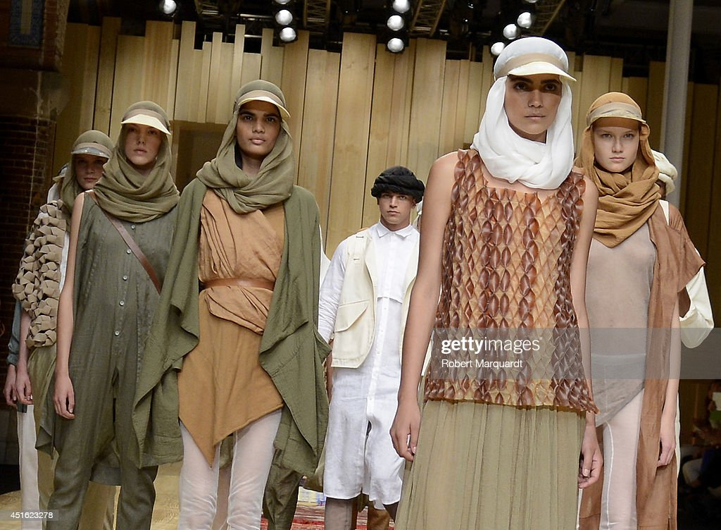 Models walk the runway for the 'Miriam Ponsa' summer 2015 collection at the 080 Barcelona Fashion Week on July 2, 2014 in Barcelona, Spain.