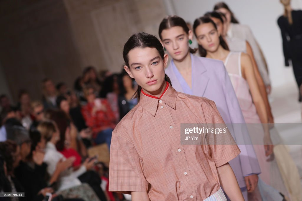 Models walk the runway for Victoria Beckham fashion show during New York Fashion Week: The Shows on September 10, 2017 in New York City.