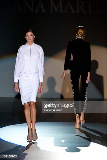 Models walk the runway in the Juana Martin fashion show during the MercedesBenz Fashion Week Madrid Spring/Summer 2013 at Ifema on September 2 2012...