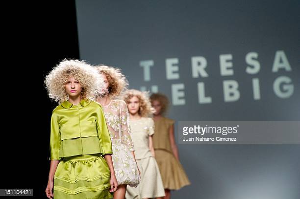 Models walk the runway in the Teresa Helbig fashion show during the Cibeles Madrid Fashion Week Spring/Summer 2013 at Ifema on September 1 2012 in...