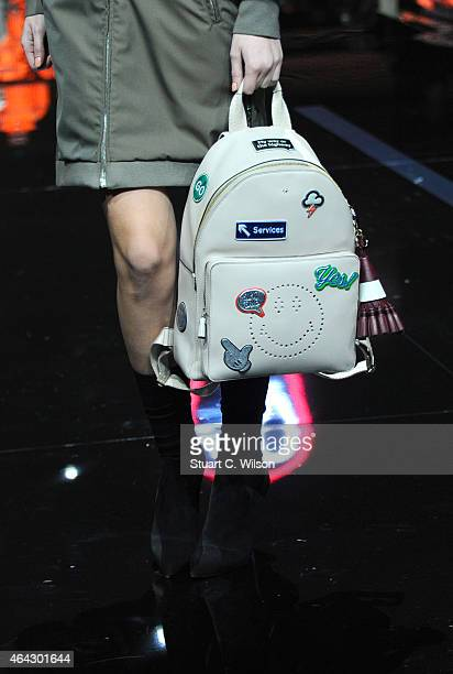 Models walk the runway presenting handbags and accessories at the Anya Hindmarch show during London Fashion Week Fall/Winter 2015/16 at on February...