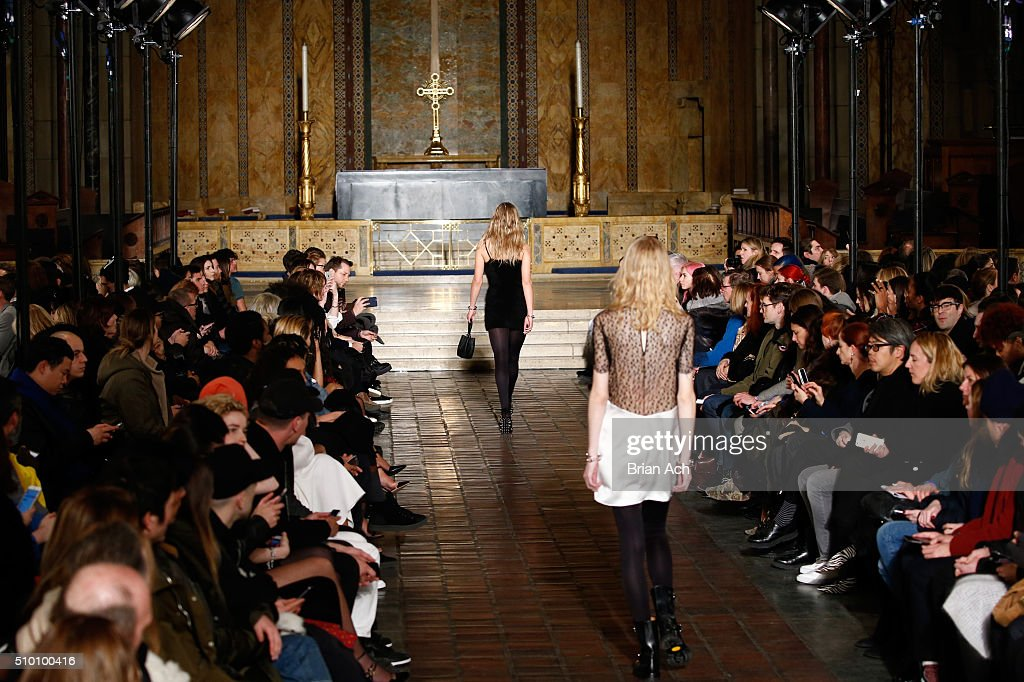 Models walk the runway wearing Alexander Wang Fall 2016 during New York Fashion Week at St. Bartholomew's Church on February 13, 2016 in New York City.