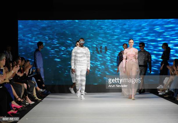 Models walk the runway wearing Armine Ohanyan at Vancouver Fashion Week Fall/Winter 2017 at Chinese Cultural Centre of Greater Vancouver on March 26...