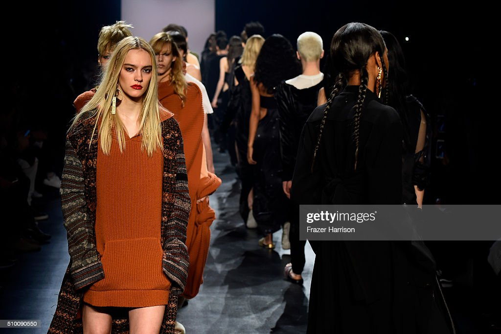 Models walk the runway wearing Baja East Fall 2016 during New York Fashion Week: The Shows at The Dock, Skylight at Moynihan Station on February 13, 2016 in New York City.