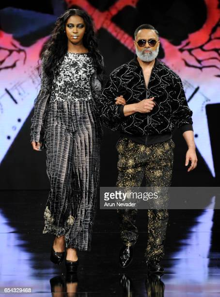 Models walk the runway wearing Burning Guitars Gear at Art Hearts Fashion LAFW Fall/Winter 2017 Day 3 at The Beverly Hilton Hotel on March 16 2017 in...