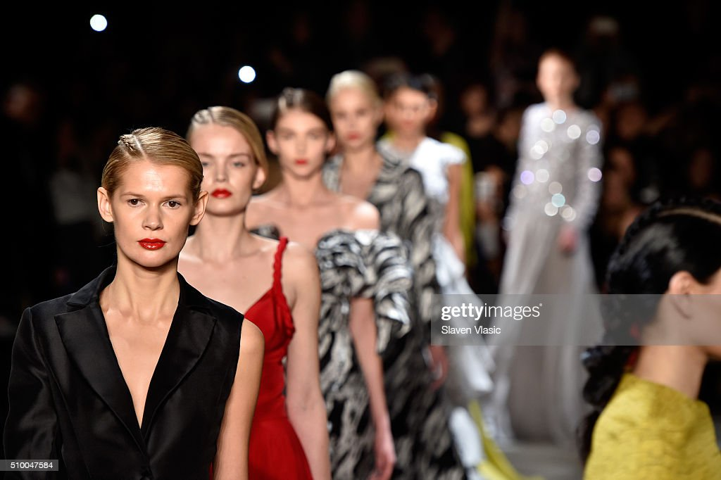 Models walk the runway wearing Christian Siriano Fall 2016 during New York Fashion Week at ArtBeam on February 13, 2016 in New York City.