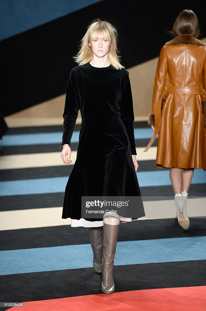 Models walk the runway wearing Derek Lam Fall 2016 during New York Fashion Week: The Shows at The Gallery, Skylight at Clarkson Sq on February 14, 2016 in New York City.