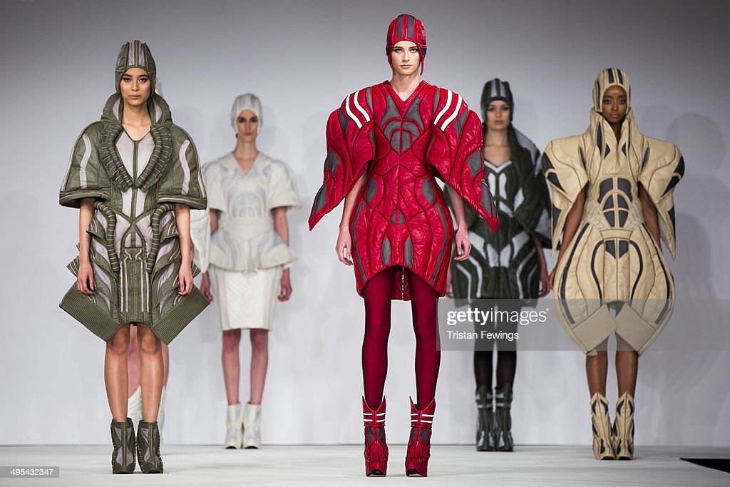 Models walk the runway wearing designs by Daichi Toyawa from Bunka College of Fashion during the International Catwalk Competition show during day 4 of Graduate Fashion Week 2014 at The Old Truman Brewery on June 3, 2014 in London, England.