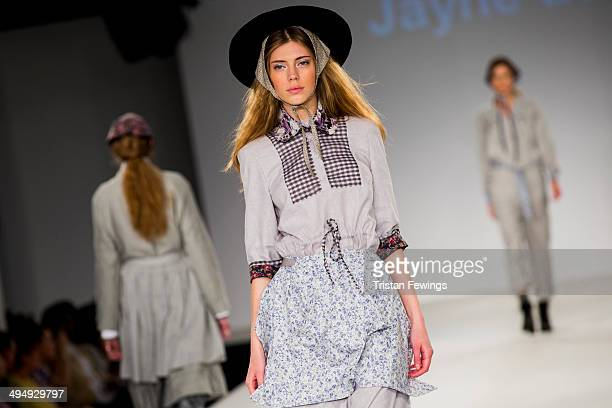 Models walk the runway wearing designs by Jayne Acton during the University of Central Lancashire show during day 1 of Graduate Fashion Week 2014 at...