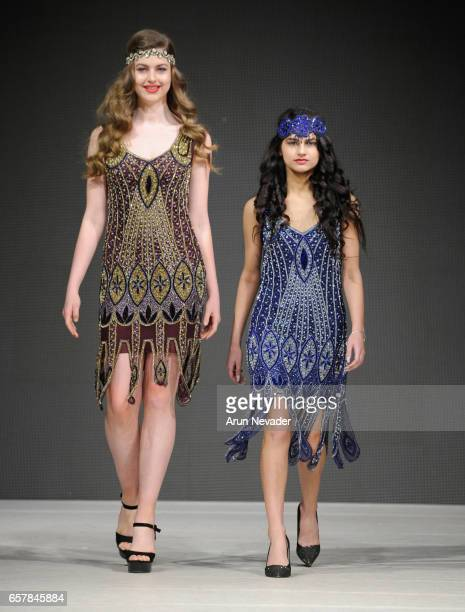 Models walk the runway wearing Gatsbylady London at Vancouver Fashion Week Fall/Winter 2017 at Chinese Cultural Centre of Greater Vancouver on March...