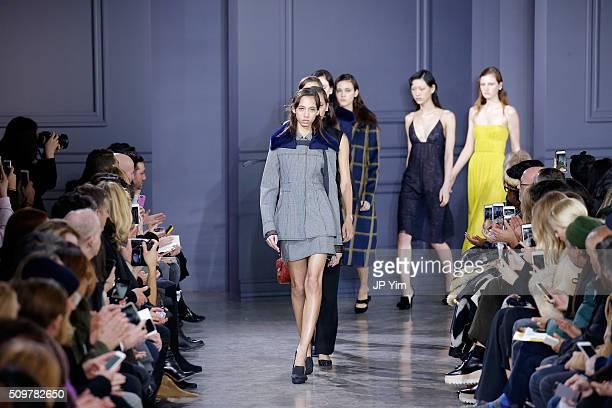 Models walk the runway wearing Jason Wu Fall 2016 during New York Fashion Week at Spring Studios on February 12 2016 in New York City
