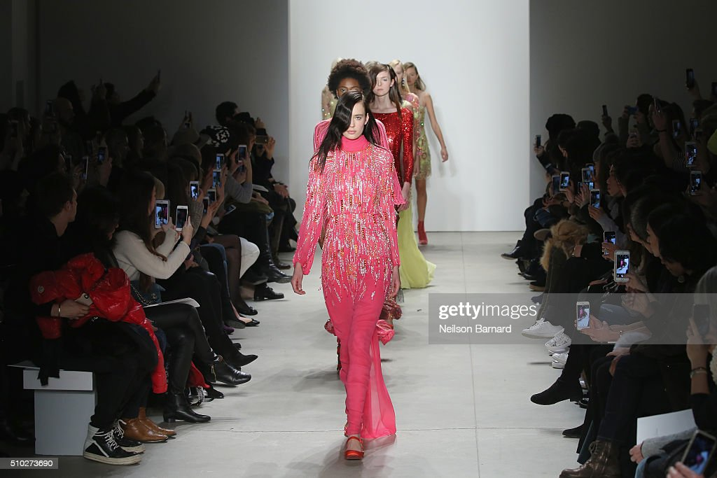Models walk the runway wearing Jenny Packham Fall 2016 during New York Fashion Week: The Shows at The Gallery, Skylight at Clarkson Sq on February 14, 2016 in New York City.