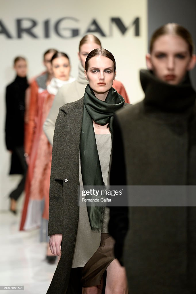 Models walk the runway wearing Karigam Fall 2016 during New York Fashion Week: The Shows at The Space, Skylight at Clarkson Sq on February 12, 2016 in New York City.