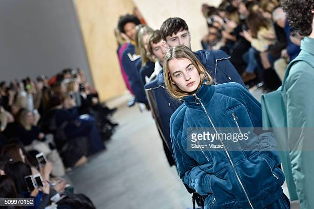 Models walk the runway wearing Lacoste Fall 2016 during New York Fashion Week at Spring Studios on February 13 2016 in New York City