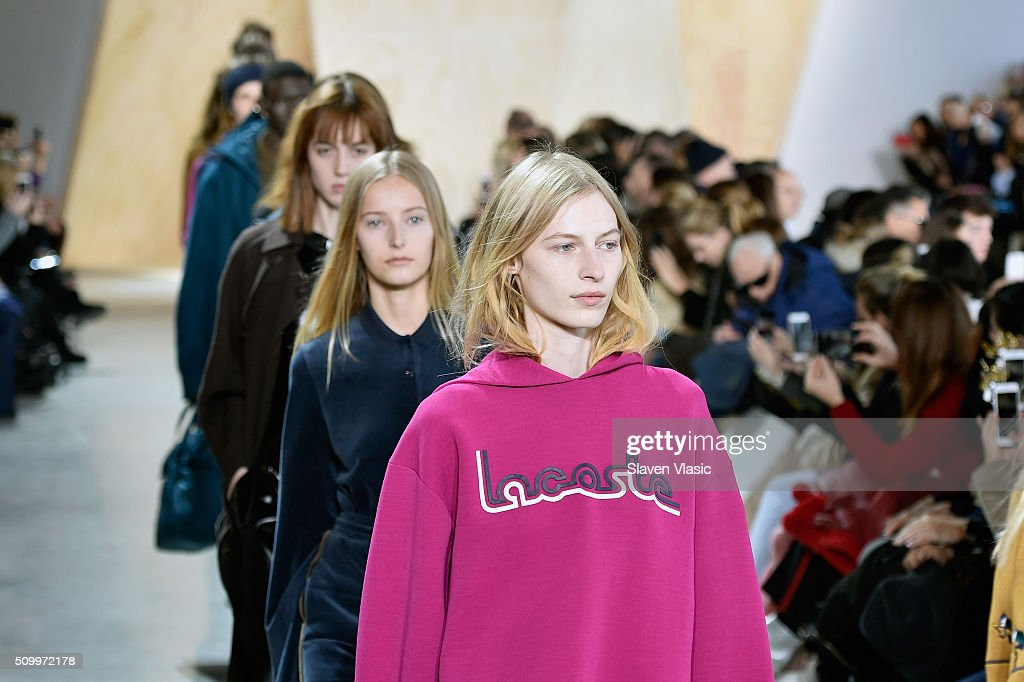 Models walk the runway wearing Lacoste Fall 2016 during New York Fashion Week at Spring Studios on February 13, 2016 in New York City.