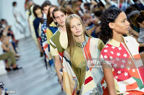 Models walk the runway wearing Lacoste Spring 2016 during New York Fashion Week at Spring Studios on September 12 2015 in New York City