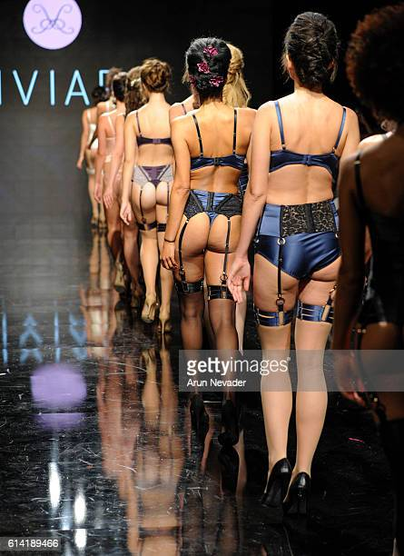 Models walk the runway wearing Liviara at Art Hearts Fashion Los Angeles Fashion Week presented by AIDS Healthcare Foundation on October 11 2016 in...