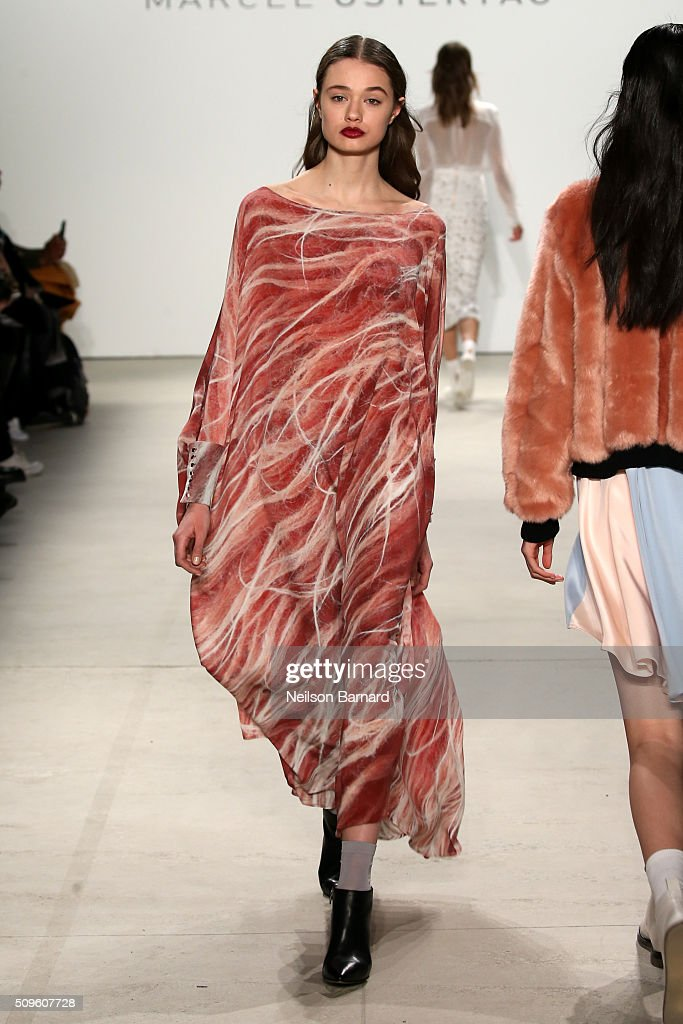 Models walk the runway wearing Marcel Ostertag Fall 2016 during New York Fashion Week: The Shows at The Gallery, Skylight at Clarkson Square on February 11, 2016 in New York City.