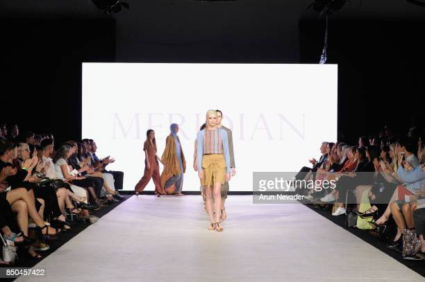 Models walk the runway wearing meridian at 2017 Vancouver Fashion Week Day 3 on September 20 2017 in Vancouver Canada