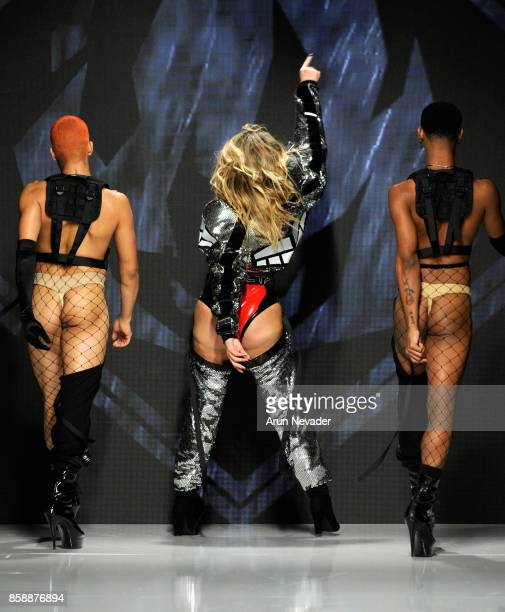 Models walk the runway wearing Michael Ngo at Los Angeles Fashion Week SS18 Art Hearts Fashion LAFW on October 7 2017 in Los Angeles California
