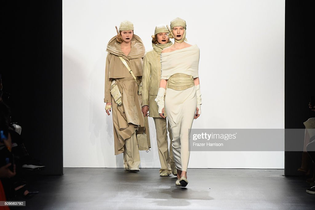 A models walk the runway wearing Nicholas K Fall 2016 during New York Fashion Week: The Shows at The Dock, Skylight at Moynihan Station on February 11, 2016 in New York City.