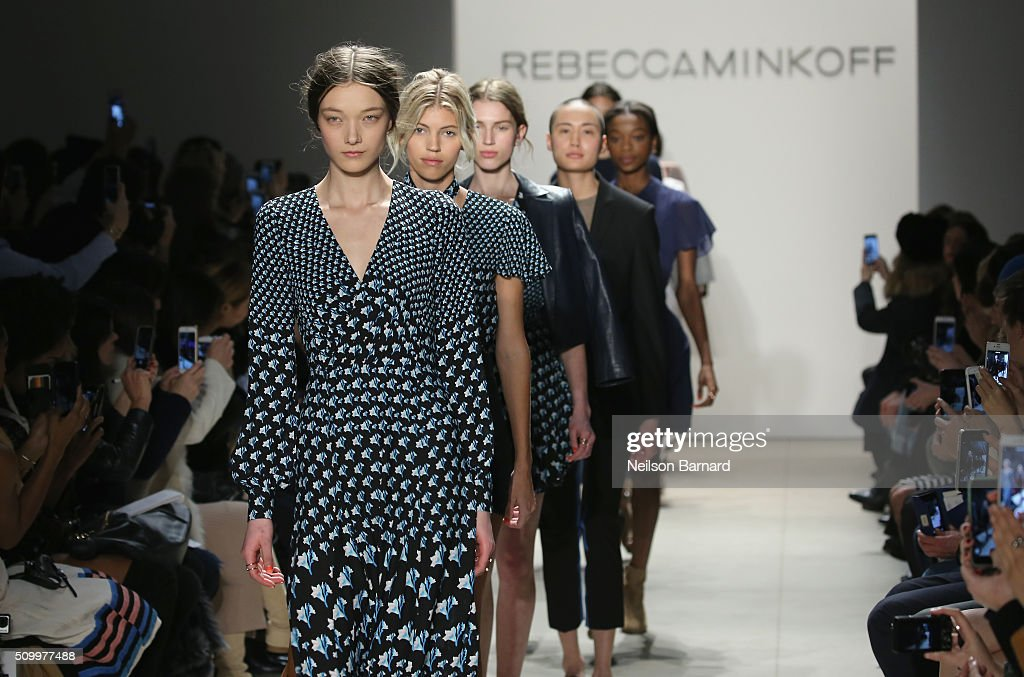 Models walk the runway wearing Rebecca Minkoff Fall 2016 during New York Fashion Week: The Shows at The Gallery, Skylight at Clarkson Sq on February 13, 2016 in New York City.