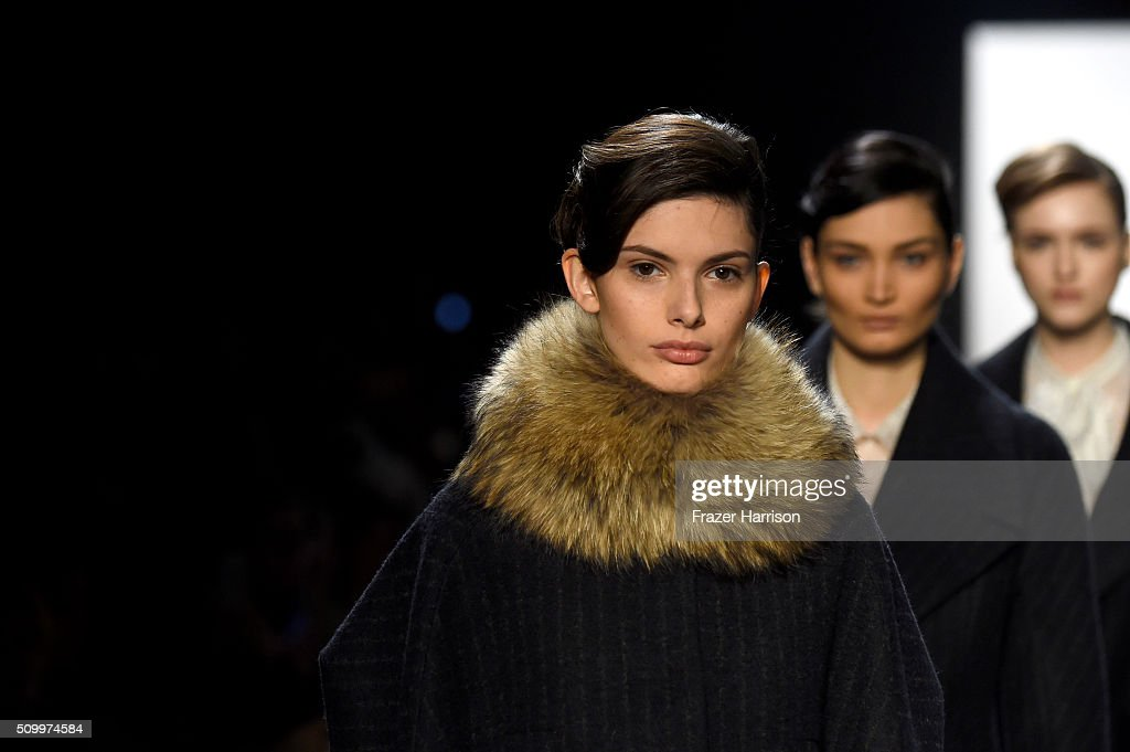Models walk the runway wearing Taoray Wang Fall 2016 during New York Fashion Week: The Shows at The Dock, Skylight at Moynihan Station on February 13, 2016 in New York City.