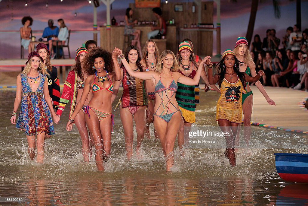 Models walk the runway wearing Tommy Hilfiger Women's Spring 2016 during New York Fashion Week The Shows at Pier 36 on September 14 2015 in New York...