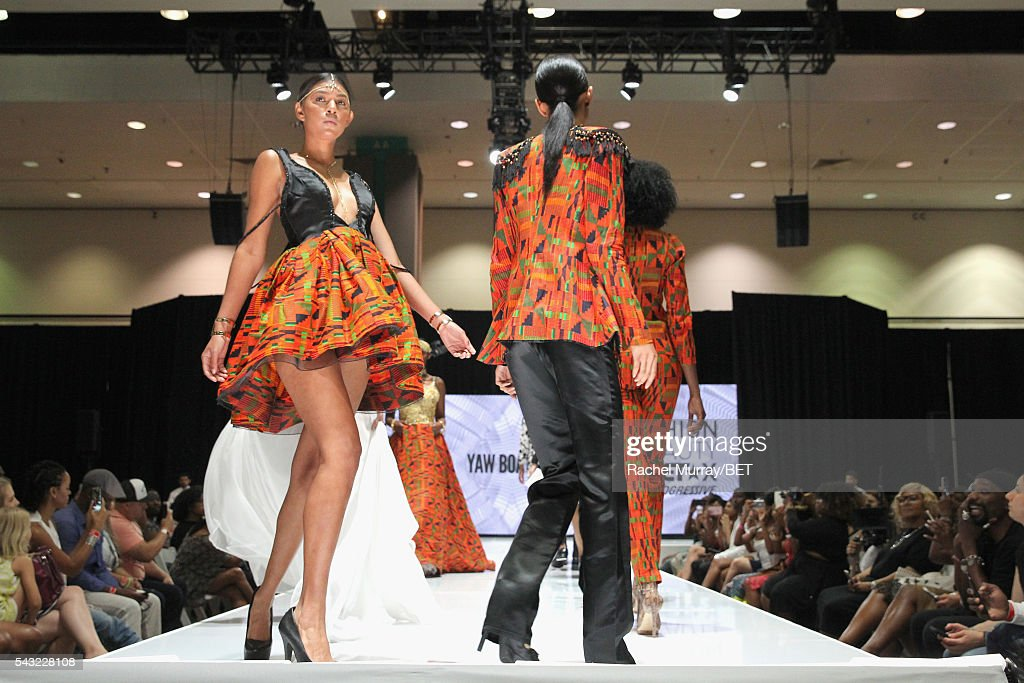 Models walk the runway wearing Yaw Boateng at the Fashion & Beauty @ BETX sponsored by Progressive fashion show during the 2016 BET Experience on June 26, 2016 in Los Angeles, California.
