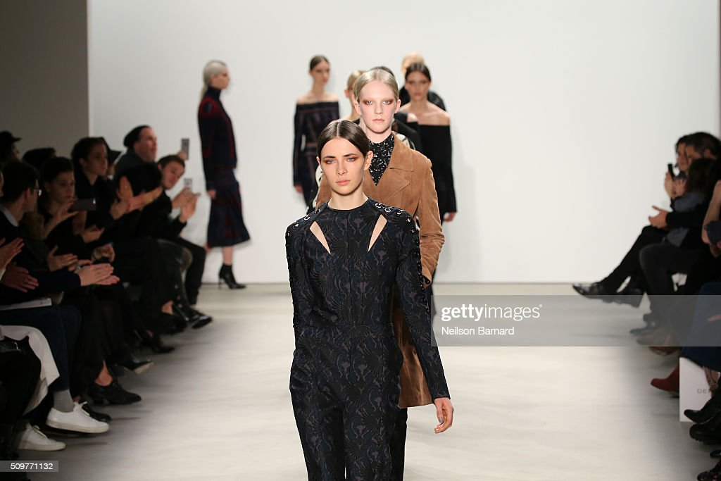 Models walk the runway wearing Yigal Azrouel Fall 2016 during New York Fashion Week: The Shows at The Gallery, Skylight at Clarkson Sq on February 12, 2016 in New York City.