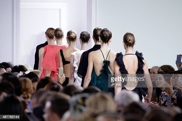 Models walk the runway with Kerastase Paris at the Jason Wu S/S 2016 fashion show during Spring Studios on September 11 2015 in New York City