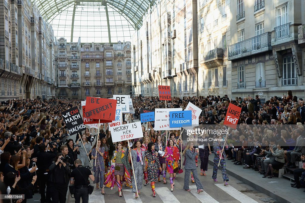 Models walk the show finale during the Chanel show as part of the Paris Fashion Week Womenswear Spring/Summer 2015 on September 30 2014 in Paris...