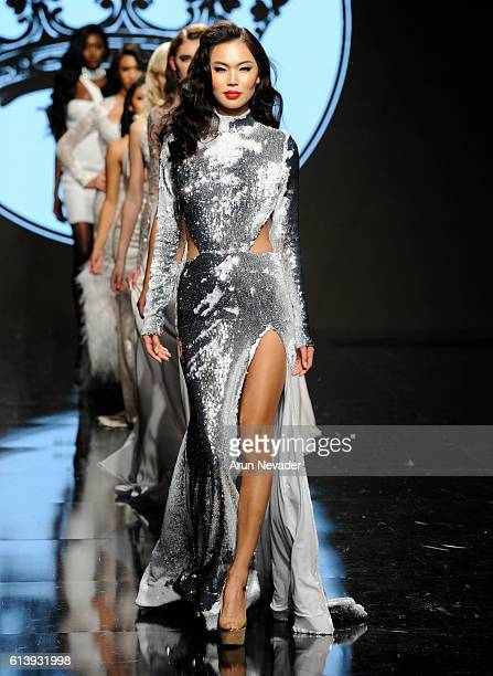 Models walk the the runway wearing Willfredo Gerardo at Art Hearts Fashion Los Angeles Fashion Week presented by AIDS Healthcare Foundation on...