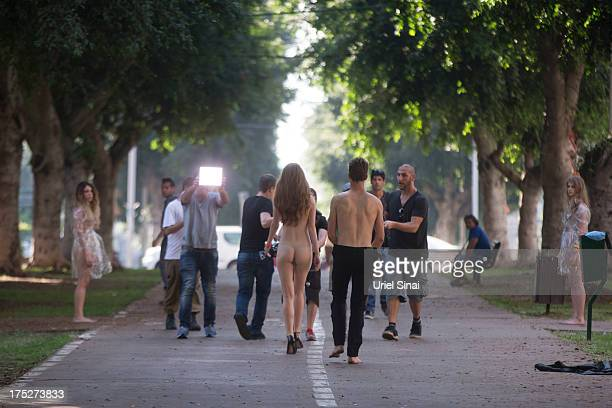 Models walk through Tel Aviv for a Video/Photo shoot for Emboss Watches on August 01 2013 in Tel Aviv Israel 'Emboss' watch company is launching a...