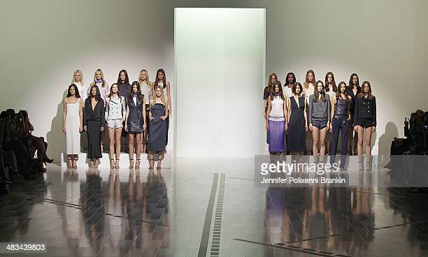 Models walking the runway at the Christopher Esber show during MercedesBenz Fashion Week Australia 2014 at Carriageworks on April 8 2014 in Sydney...