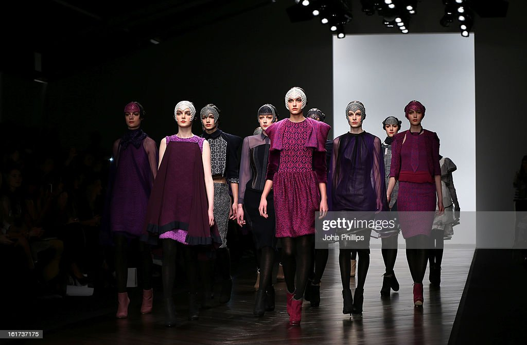 Models walks the runway at the Bora Aksu show during London Fashion Week Fall/Winter 2013/14 at Somerset House on February 15, 2013 in London, England.