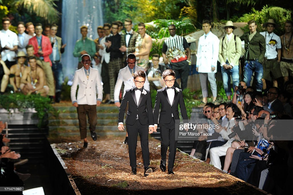 Models walks the runway at the DSquared2 show during Milan Menswear Fashion Week Spring Summer 2014 on June 25, 2013 in Milan, Italy.