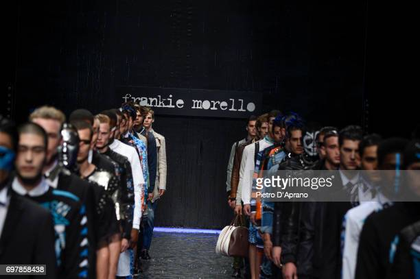 models walks the runway at the Frankie Morello show during Milan Men's Fashion Week Spring/Summer 2018 on June 19 2017 in Milan Italy