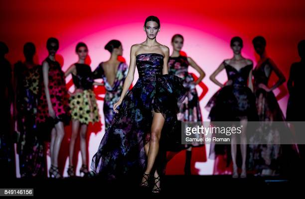 Models walks the runway at the Hannibal Laguna show during the MercedesBenz Fashion Week Madrid Spring/Summer 2018 at Ifema on September 18 2017 in...