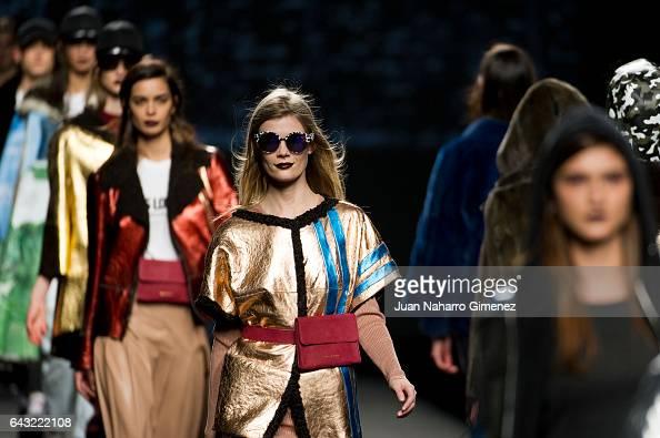 Models walks the runway at the J Lorenzo show during the MercedesBenz Madrid Fashion Week Autumn/Winter 2017 at Ifema on February 20 2017 in Madrid...