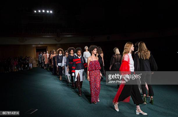 Models walks the runway at the OSMAN show during London Fashion Week Spring/Summer collections 2017 on September 19 2016 in London United Kingdom