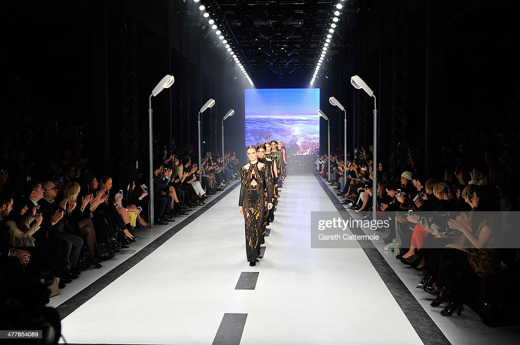 Models walks the runway at the Raisa-Vanessa Sason show during MBFWI presented by American Express Fall/Winter 2014 on March 11, 2014 in Istanbul, Turkey.